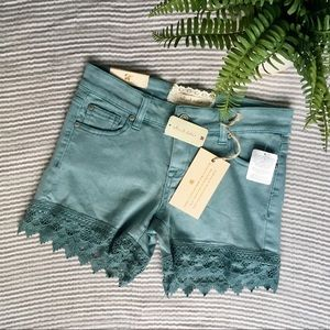 4/$30 Altar'd State Teal Lace Denim Jean Shorts